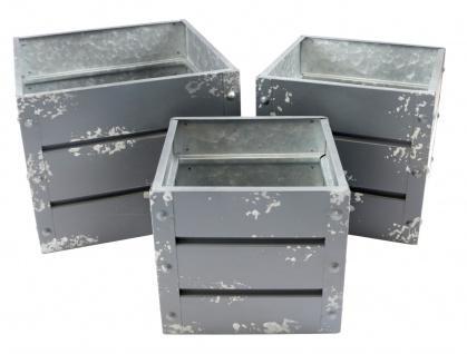 Zink-Übertöpfe grau Container-Design 3er-Set Pflanzkasten Blumentopf Pflanztopf