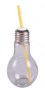 Trinkglas Glühbirne +Trinkhalm 500ml Trinkbecher Saftglas Partybecher Getränke - Vorschau 3