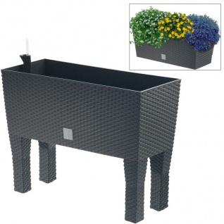 Polyrattan-Blumenbank mit Bewässerung 80cm Pflanzkasten Blumenkasten Pflanztrog