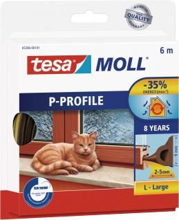 """tesa Hohlprofilgummidichtung ,, tesamoll® Classic P-Profil"""" 05390-00101 Moll Profil Gummi-6m-5390 Braun"""