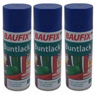3x Baufix Alkydharz Lackspray marineblau glänzend 400ml Bunt Farbspray Sprühdose