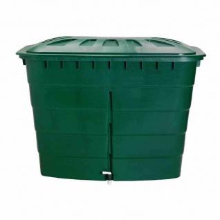 Regentonne eckig 520L mit Deckel und Hahn, Farbe: grün grün, mit Deckel und Hahn