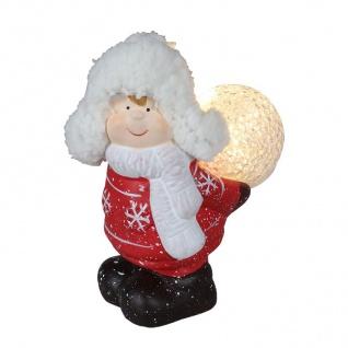 Keramik-Kinderfigur stehend mit LED-Schneeball Dekofigur Weihnachtsdeko warmweiß