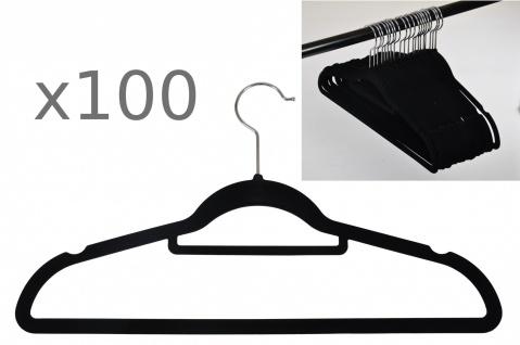 100er Set rutschfeste Kleiderbügel Samt-Bezug beflockt Hosenbügel Platzsparend