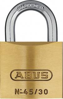 """ABUS ZYLINDER-HANGSCHL.-MESS- Messinghangschloss ,, Serie 45"""" 80611 Nr 45/ 30mm"""