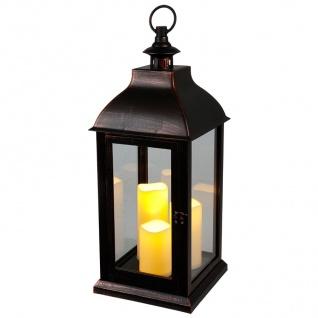 Deko-Laterne schwarz 3 LED-Kerzen Flackereffekt Weihnachtsdeko Gartendeko Timer