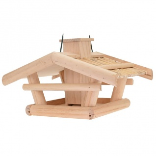 Holz Vogelhaus natur 43x30x25cm Vogelfutterspender Futterstation Futterspender