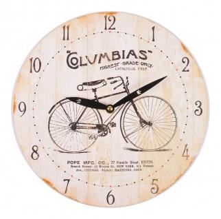 Wanduhr Retrodesign Wohnzimmeruhr Küchenuhr Quarzuhr Uhr 29cm Vintage Fahrrad