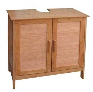 Bambus Waschbecken-Unterschrank 60x30cm Badschrank Aufbewahrung Badezimmermöbel