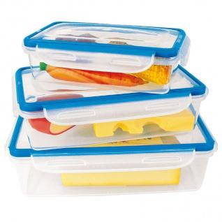 3er-Set Quick Clip Frischhaltedosen 4- fach Verschluss Aufbewahrung Gefrier Box