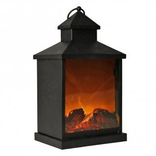 LED Laterne mit Kaminfeuer Effekt 37cm Tischfeuer Kamin Feuer Wohndeko Dekolicht