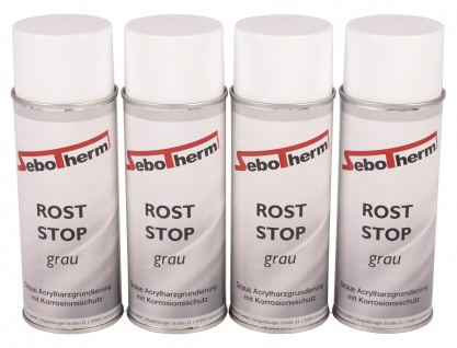 4x 400 ml Grundierspray Roststop Spray grau Rostschutz Anti Rost Grundierung