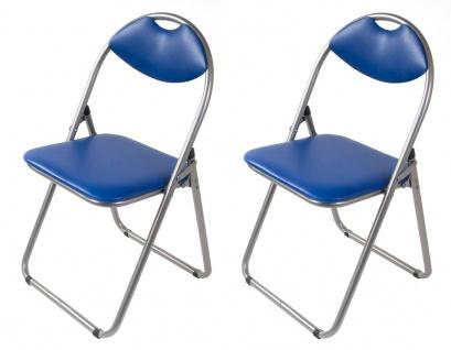 2x Metall Klappstühle blau Gästestühle Stuhl Gäste Besucherstuhl Gartenstuhl