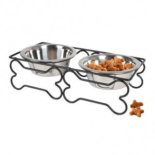 Edelstahl Doppelnapf 2x 300ml Fressnapf Wassernapf Futterstation Hundenapf Katze