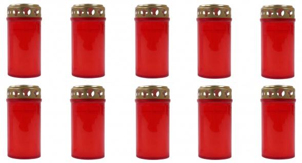 10x Grabkerze rot Grablicht Gedenkkerze Trauerkerze 3-Tagebrenner Grableuchte