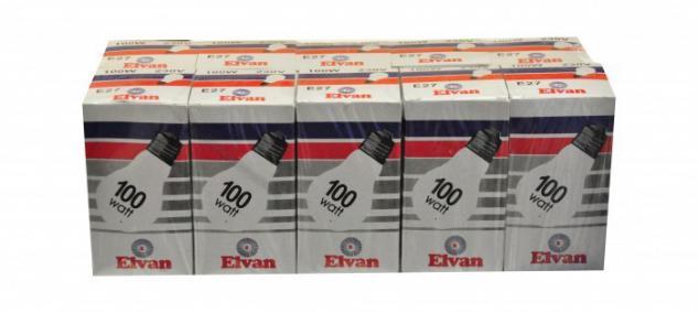 Elvan Glühbirne Glühlampe Lampe E27 100 Watt 200er (20x10 Stück)