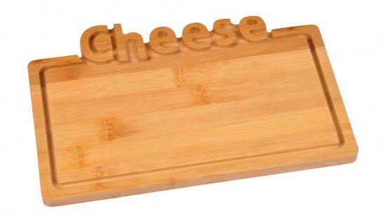 Bambus Käse-Servierplatte 25x17cm Frühstücksbrett Serviertablett Käseplatte Deko