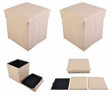 2x Faltbarer Sitzwürfel Aufbewahrungsbox Sitzhocker Sitzbank Truhe Fußbank Beige
