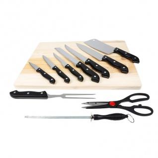 Messer-Set 11-tlg Schneidebrett Küchenmesser Fleischmesser Brotmesser Küchenbeil