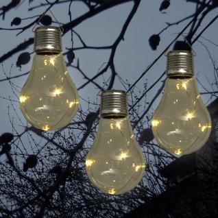 Solar-LED-Glühlampen 3er-Set kabellos Glühbirnen Gartendekoration Dekolicht