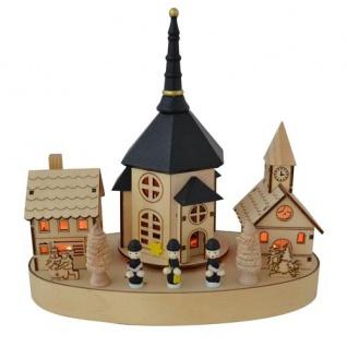 Weihnachten Kirche 4 LED Musik drehend Holz 25x13, 5 mit Spieluhr Weihnachtsdeko