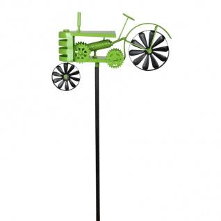 Metall-Gartenstecker Traktor grün Windspiel Gartendeko Beetstecker Gartenfigur - Vorschau 2