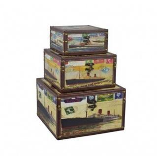 Deko-Holzboxen 3er-Set Postkarten-Motiv Aufbewahrungsboxen Dekoboxen Holzkisten