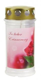 """Grablicht Motiv """" Rose"""" H 17 cm Tagebrenner Gedenkkerze Schmuck Ruhestätte Deko"""