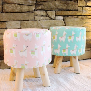 Hocker mit Lama-Stoffbezug rosa grün Sitzhocker Pouf Schemel Holzhocker Fußbank