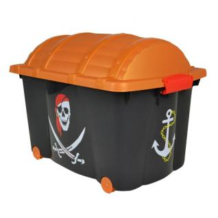 Piratenbox mit Rollen Aufbewahrungsbox Schatzkiste Schatztruhe Rollbox Box Kiste