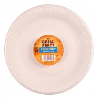 Pappteller 20 Stück weiß Ø23cm Einweggeschirr Imbissteller Partyteller Catering