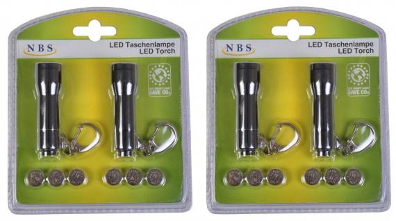 4er-Set LED Taschenlampe Handlampe Schlüsselanhänger Flashlight Leuchte klein