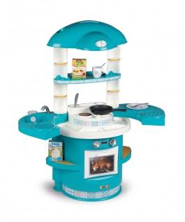 Kinder Spielküche türkis Kinderküche Kochfeld Backofen Pfanne Geschirr Besteck