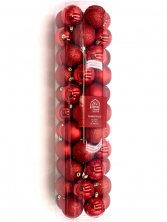Weihnachtsbaumkugeln rot 55-tlg Christbaumschmuck Baumschmuck Christbaumkugeln