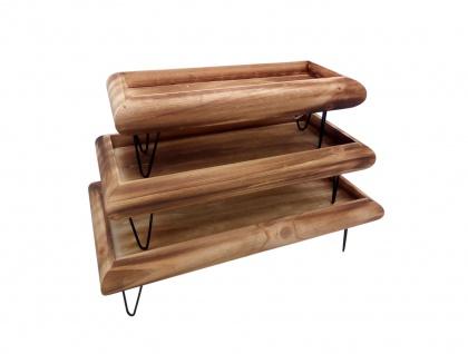 Dekotablett-Set 3tlg. aus Holz mit Metallfüßen Serviertablett Holztablett Deko