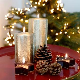 Weihnachtskerze Stern gold Adventskerze Stumpenkerze Wachskerze Dekokerze Kerze