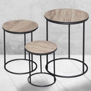Beistelltische 3er-Set Couchtisch Wohnzimmertisch Kaffeetisch Blumentisch Metall