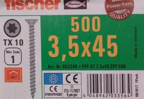 500x fischer Spanplattenschrauben 3, 5x45 TX10 Holzschrauben verzinkt Vollgewinde - Vorschau 2