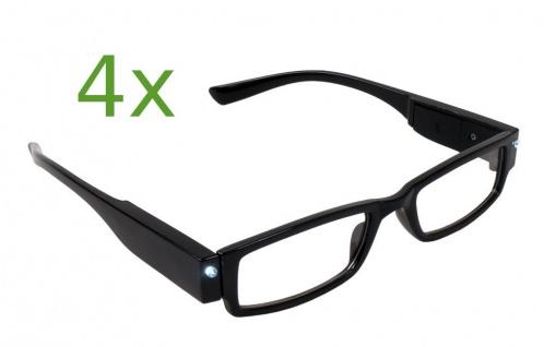4x Lesebrille mit LED-Licht +3.00 dpt Lesehilfe Sehhilfe Nachtbrille Leselicht