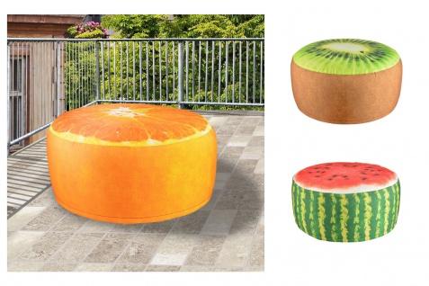 Outdoor Sitzkissen 55cm Luftsitz Luftkissen Hocker Pouf Obst Melone Kiwi Orange
