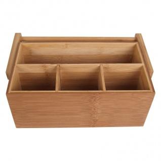 Bambus-Organizer Utensilienbox Stiftebox Besteckkasten Schreibtisch Aufbewahrung - Vorschau 2