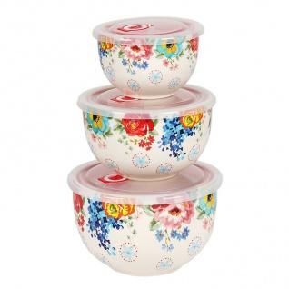 Keramikschüsseln mit Frischhaltedeckel 3er-Set Servierschüssel Salatschüssel - Vorschau 4