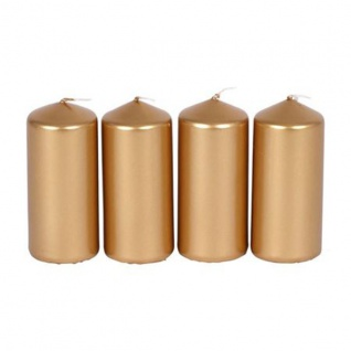 4er Set Metallic-Stumpenkerzen 40x90mm Gold Adventskerzen Weihnachten Kerzen - Vorschau