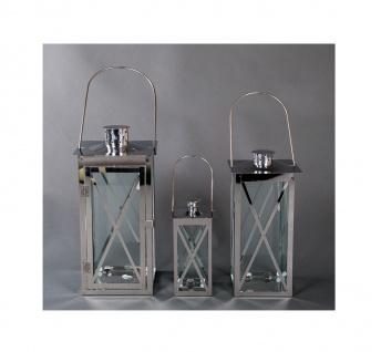 Edelstahl Laternen-3er-Set Gartenlaterne Terrassendeko Windlicht Kerzenhalter