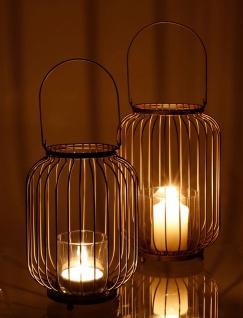 Metall-Laterne mit Glaseinsatz Hängelampe Kerzenhalter Glaslaterne Kerzenständer
