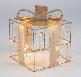 LED-Weihnachtsgeschenk gold 15cm mit Schleife Weihnachtsdeko Geschenkpäckchen