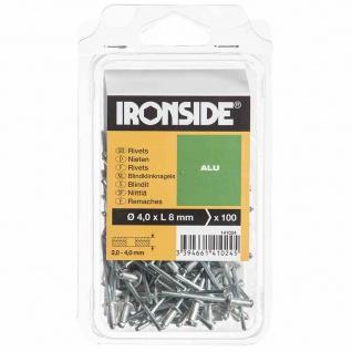 Blindnieten 4, 0 x 8 mm Aluminium, Verpackungsinhalt: 100 Stück