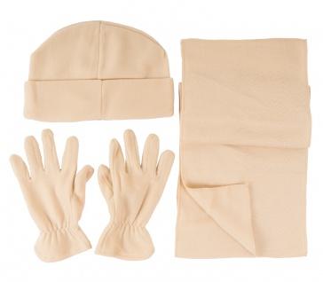 Fleece Winter-Set beige 4-tlg Mütze Schal Handschuhe Wintermütze Universalgröße