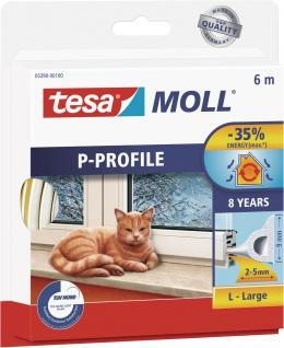 """tesa Hohlprofilgummidichtung ,, tesamoll® Classic P-Profil"""" 05390-00100 Moll Profil Gummi-6m-5390 Weiss"""