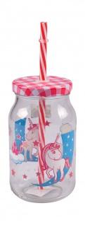 Kinder-Trinkglas mit Trinkhalm Unicorn Einhorn Kinderglas Saftglas Glas 450ml